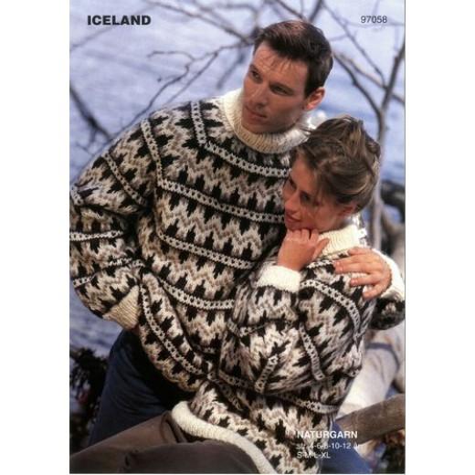 Islandsk Sweater Med Mønster 97057